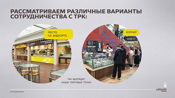 Презентация компании «АйсКейк» для аренды в ТЦ