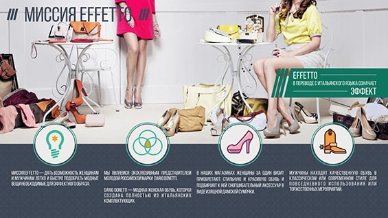 Презентация обувного магазина Effetto