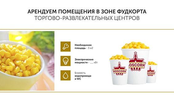 Презентация кафе Moscorn для аренды в ТЦ
