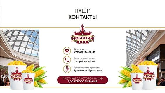Презентация компании Moscorn для получения места в ТЦ