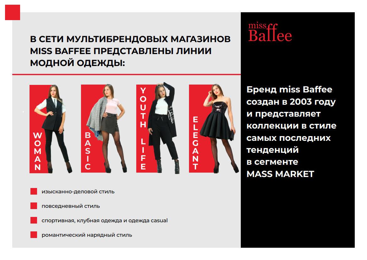 Презентация сети магазинов женской одежды Miss Baffee